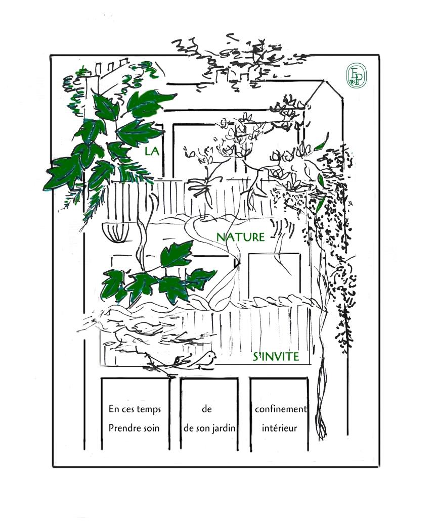 3.Soin des sens Prendre soin de son jardin intérieur Dessin plume croquis contemplatif confinement