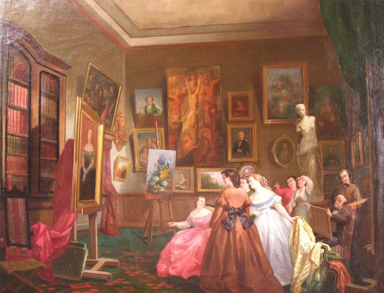 Scène d'intérieur, huile sur toile, Gabriel Durand, vers 1860, Musée du vieux Toulouse