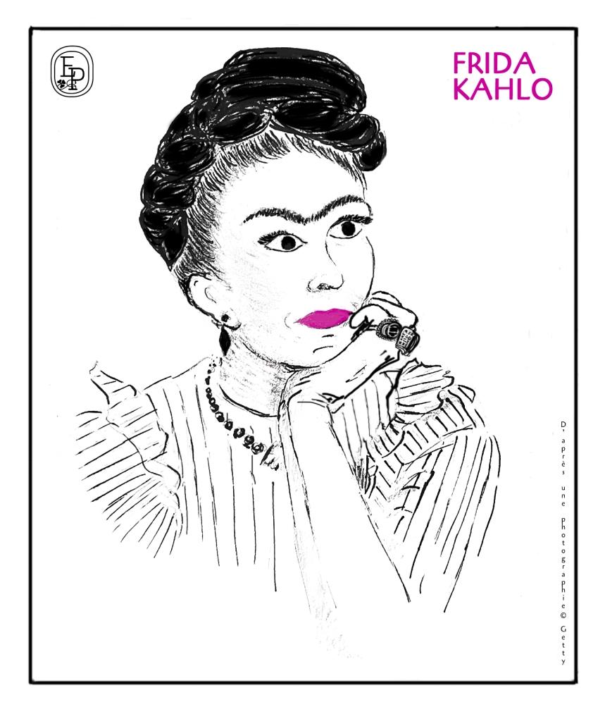 Frida Kahlo - dessin © Émilie Pruvost d'après une photographie © Getty