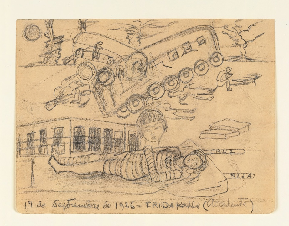 Accident de frida kahlo, dessin de 1926