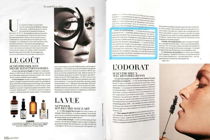 Soin des sens - Article Mme Figaro 3 et 4 - Madame Figaro - décembre 2020