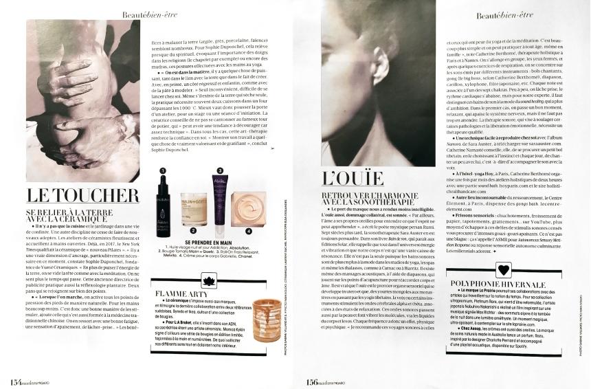 Soin des sens - Article Mme Figaro - Madame Figaro décembre 2020