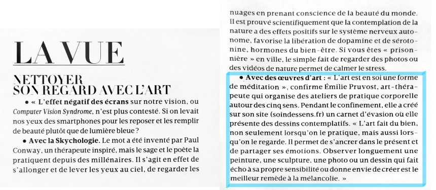 Soin des sens - Article Mme Figaro gros plan - soin des sens - Madame figaro décembre 2020