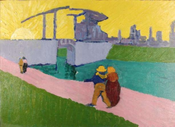 Le pont de Langlois, d'après van Gogh vers 1906 -1907, Giovanni Giacometti, collection PCC - Müller-Radlach 1997